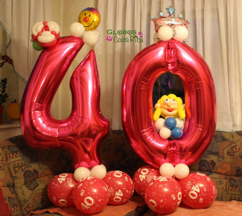 Ballon Zahl 40 Folienballon als Geburtstagsgeschenk Folienballon mit dem Thema Prinzessin in La Guacima Costa Rica.