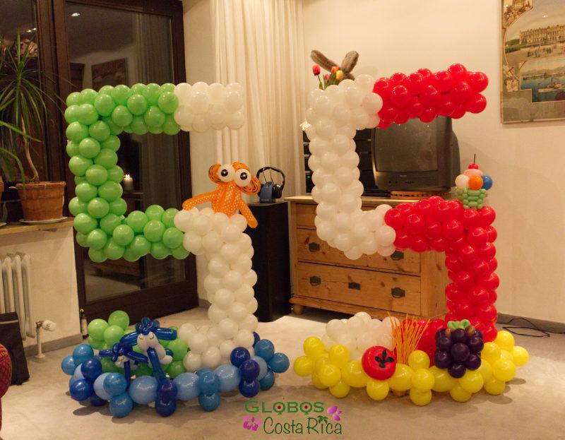 Ballon Zahl 55 als Geburtstagsgeschenk Thema Meer und Italien in Rohrmoser Costa Rica.