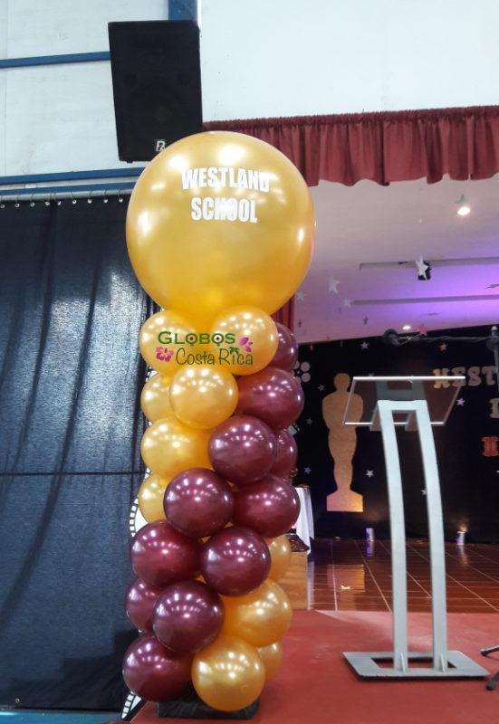 Columna de Globos personalizada para Ceremonia de Graduación en Westland School Heredia 2017 en Heredia.