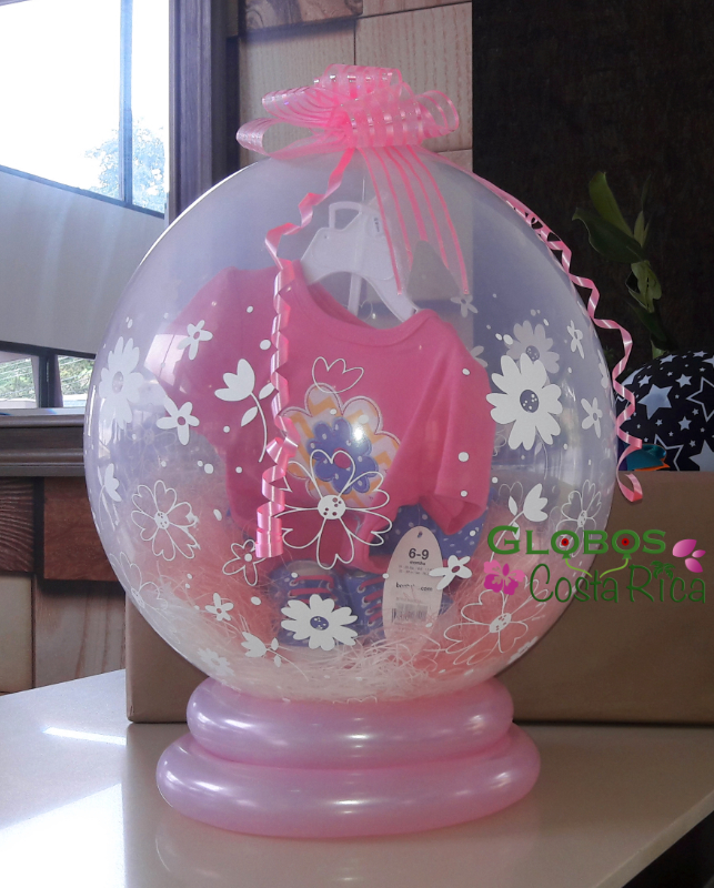 Empaque de Globo para regalo de Baby Shower de Niña en Ciudad Colon.