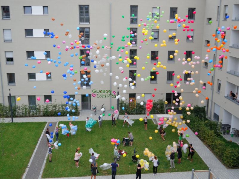 Massenaufstieg von Helium Ballons für einen Geburtstag in Belén Costa Rica.