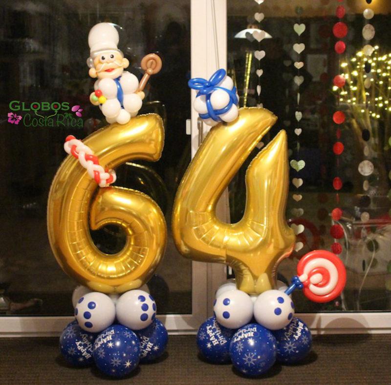 Número 64 en Globos Metálicos para un Cumpleaños en Hostpital.